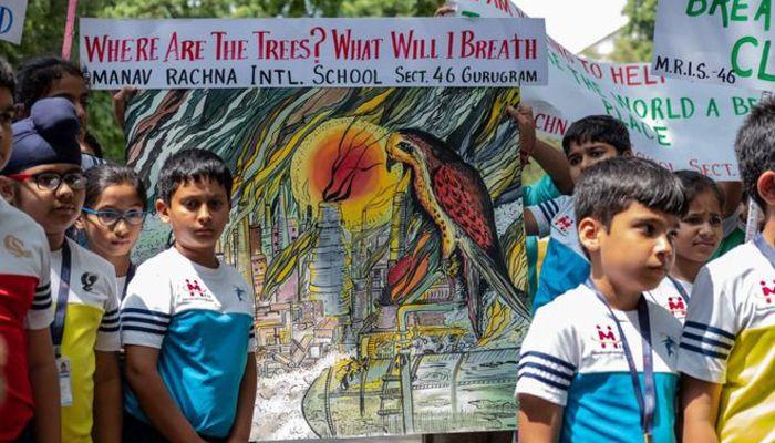 ভারতের রাজধানী নয়াদিল্লির একটি স্কুলের শিক্ষার্থীদের আয়োজন। -বিবিসি